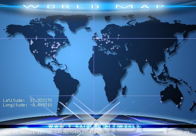 World Map location of user (bellx1)